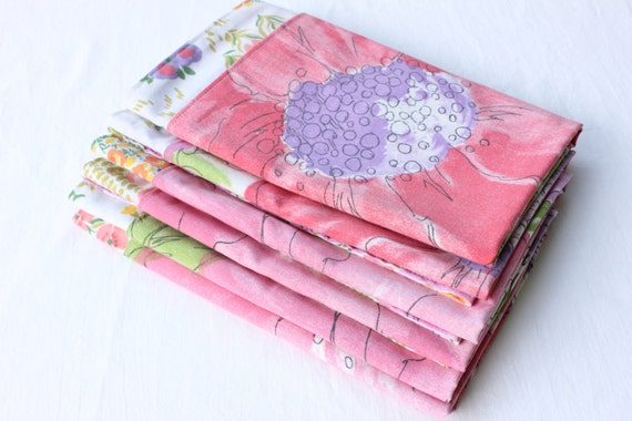 Cloth Napkins Pink Purple Vintage Set of 6