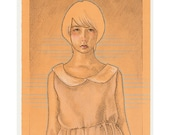 Original Drawing - Solemn Girl - Pencil Illustration - One of a Kind Art on Paper