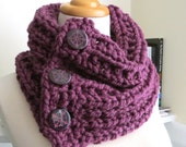 Chunky Knit Three-Button Neck Warmer--Sweet Plum