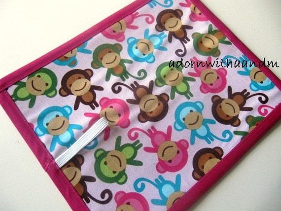 Chalkimamy Ann Kelle pink monkeys TRAVEL chalkboard mat/placemat (a)