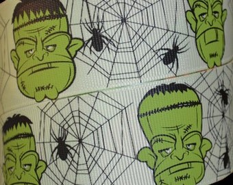 Halloween Frankenstein 1.5 Inch Grosgrain Ribbon 2 Yards