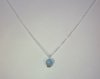 Genuine Aquamarine  Solitaire Necklace - March Birthstone - Sterling Silver Chain