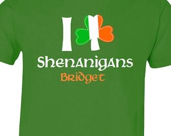 St. Patrick's Day shirt - shamrock and shenanigans personalized GREEN Tshirt