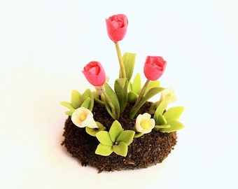 Miniature Plants Polymer Clay Flowers Supplies for Dollhouse, Red Tulips