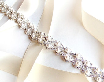 Crystal Pearl Weave Bridal Belt Sash in Silver - Custom Satin Ribbon - Rhinestone Pearl Wedding Dress Belt - Extra Long Thin Belt