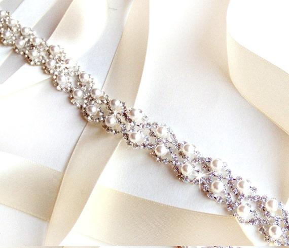 Crystal Pearl Weave Bridal Belt Sash In Silver Custom Satin