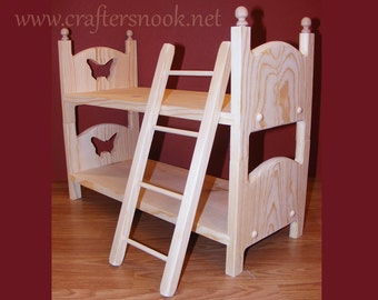 """Doll Bunk Bed and ladder 2 Doll Beds American Made 18"""" Doll Furniture Christmas Gift for Girl Gift for Daughter Gift for Niece Pre Teen Gift"""