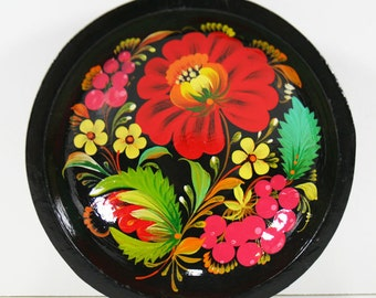 Hand-Painted Russian Black Lacquer Footed Bowl - Rich, Brilliant Flower Motif