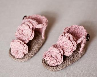 Crochet PATTERN - Flowery Flip Flops
