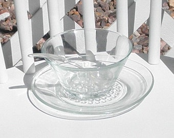 Condiment Bowl Glass With Hobnail Design Saucer And Plastic Ladle Vintage