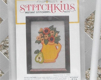 Flowers in Pitcher Crewel Embroidery Kit Vintage by Stitchkins