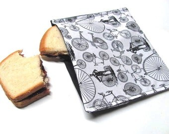 Reusable Sandwich Bag Black and White Antique Bicycle Large Size Lunch Sack Lunch Kit Lunch Bag Food Storage Stocking Stuffer Ready to Ship