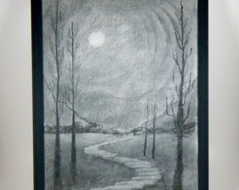 Charcoal drawing, Midnight Stroll, framed