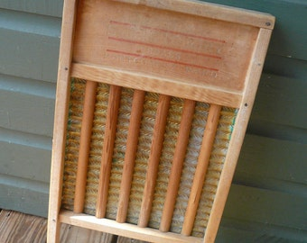 Vintage Washboard Montgomery Wards Wood Brass Laundry