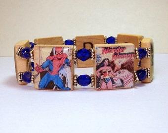 SUPER HERO SCRABBLE Bracelet / Fun Handmade Jewelry / Wonder Woman - Batman - Spider Man - Hulk - Superman - Captain America - Green Lantern