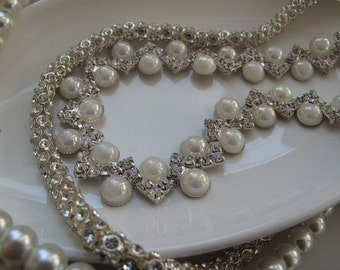Pearl Necklace, Handmade Wedding  Necklace, Chunky Layered  Pearl  Necklace, Rhinestone Chain  Necklace,