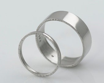 Palladium Wedding Bands1mm & 6mm All Recycled Metal Hand Forged