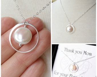 Mothers Day Gift, Pearl necklace for mom, Mother of the bride, mother of the groom, sterling silver, Gift for mom, eternity necklace otis b