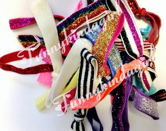 25 Mixed Glitter Elastic Hair Ties 3/8 and 5/8 in. Pastel Jewel Tones and Neon Colors Ponytail Holders Bracelets