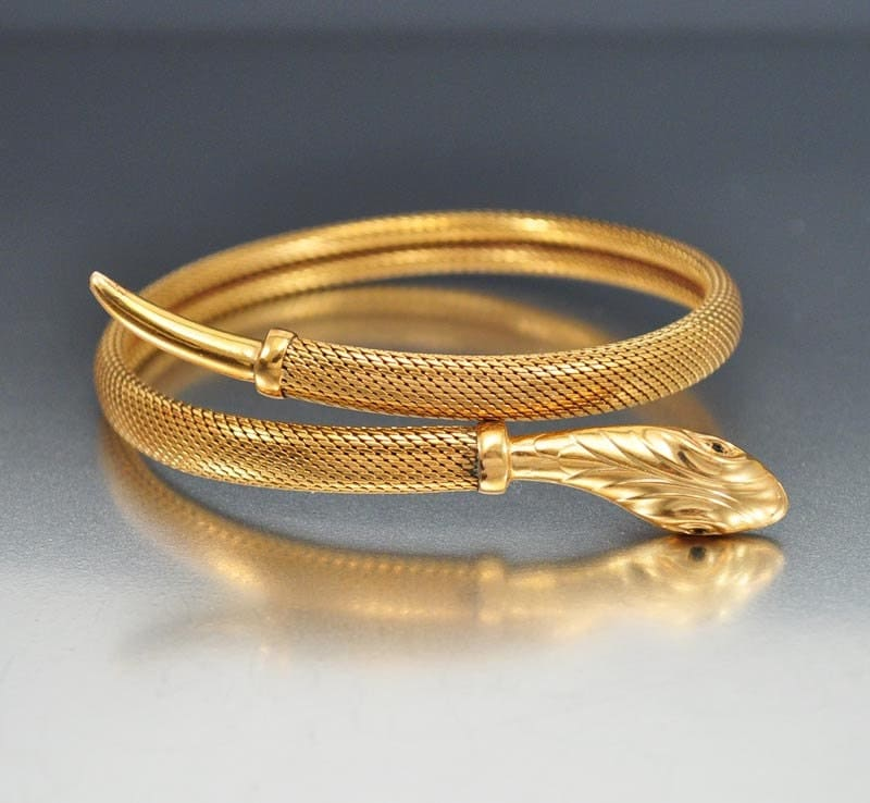 Art Deco Gold Filled Snake Bracelet Bangle Wrap Bracelet