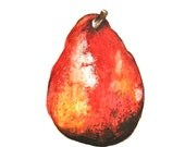 "Watercolor Painting, Original Still Life Painting, Red Pear, 6""x9"""