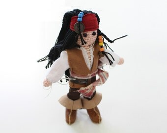 Jack Sparrow inspired, Pirate doll, Amigurumi figurine, crochet toy, collectible doll, Pirate New Year gift