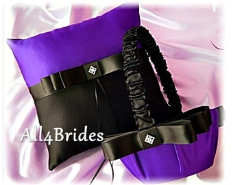 Purple and black ring pillow and flower girl basket, ring bearer and flower girl wedding accessories