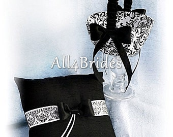 Madison Damask Wedding Ring Bearer Pillow and Flower Girl Basket Black and White, Damask Weddings Ceremony Decor