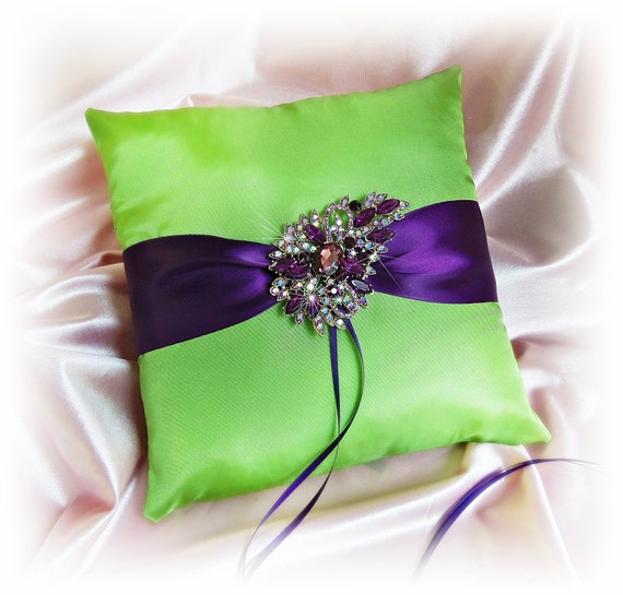 Wedding ring bearer pillow green and purple, purple rhinestone crystal brooch