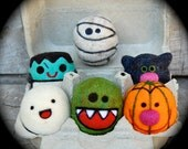 Needle Felted Wool Halloween Toy Set - ghost - pumpkin - monster - MADE TO ORDER
