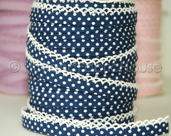 Bias Tape Double Fold Navy Polka Dot Cotton and Crochet Lace