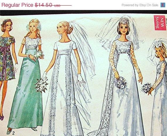 70s vintage empire waist wedding dress pattern misses size 12 for Empire waist wedding dress patterns
