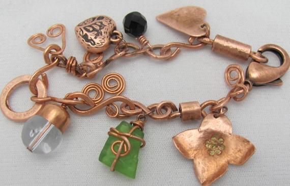 Copper  Bracelet. Copper Charm Bracelet. Artisan Bracelet.