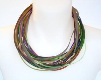 heather color, multi strand necklace,  handmade avantgarde  rubber design