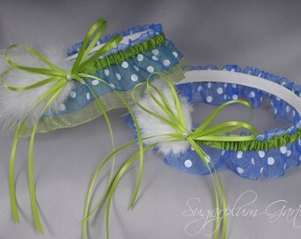 Wedding Garter Set in Lime Green and Royal Blue Polka Dot with Pearls and Marabou Feathers
