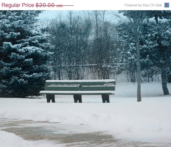 Holiday Clearance Park Bench Digital Photograph