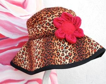 REVERSIBLE SUN Hat- SUMMER Hat----Leopard Animal Print Summer Hat......