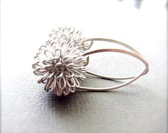Silver Flower Earrings - Sterling Silver Leaf Hook - Modern Jewelry - Dhalia, Dandelion Earrings