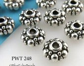 8mm Pewter Spacer Puffy Rondelle Beads, Antiqued Silver (PWT 248) 20 pcs BlueEchoBeads