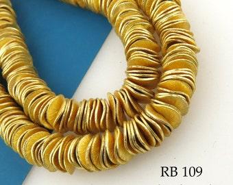 8mm Gold Tone Potato Chip Beads Brushed Small Wavy Disk Full Strand (RB 109) 122 pcs BlueEcho Beads