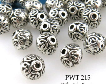 7mm Pewter Beads Bali Style Double Curls, Antiqued Silver (PWT 215) 20 pcs BlueEchoBeads