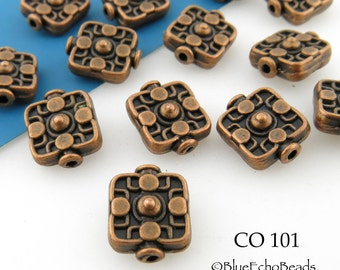 10mm Square Copper Beads Antique Copper (CO 101) 12 pcs BlueEchoBeads