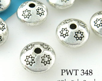 10mm Pewter Saucer Beads, Spacer Beads, Antiqued Silver, Top (PWT 348) 8 pcs BlueEchoBeads