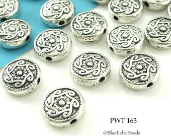 10mm Small Celtic Swirl Coin Pewter Bead, Antique Silver (PWT 163) 10 pcs BlueEchoBeads