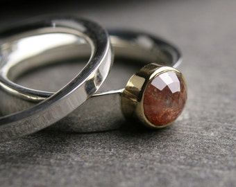 Modern diamond engagement ring - wedding set - red rose cut sterling silver and 18k yellow gold - conflict free - untreated