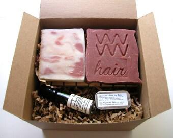 Lavender Rose Bath Set - with soap, shampoo bar, perfume, lip balm and 2 Cedarwood Soap Decks