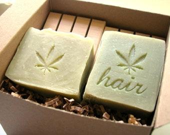 Hemp Soap and Shampoo Bar Gift Set by Aquarian Bath with 2 Cedarwood soap decks - bath set gift