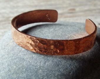 rustic hammered copper cuff, artisan hammered copper bracelet, for men and women, select small to medium sizes available
