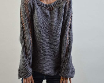 Hand Knit Woman Sweater Eco Cotton charcoal sweater Dark Grey-ready to ship