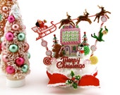 Santa & Reindeer Sleigh Up on The Housetop Vintage Insp. Jumbo Fake Cupcake Holiday Centerpiece Gingerbread Men/Elf/Snowman/Candy Canes